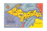 Map of Michigan Upper Peninsula, Art Print