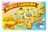 Map of North Carolina Art Print