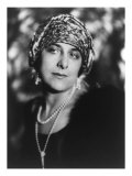 Geraldine Farrar, American Opera Star in 1923, Wearing Fashionable Turbsn and Long String of Pearls, Giclee Print