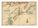 1639 Maps of British Colonies in North America, with Locations of Plymouth and Jamestown, Giclee Print