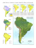 Physical Map of South America Map 1972, Giclee Print