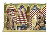 Mathematician Monks: One Teaching the Globe, the Other Copying a Manuscript, Giclee Print