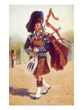 Scot Playing Bagpipes, 1912, Giclee Print
