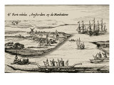 New Amsterdam - view of the Dutch colonial settlement that later became New York City, Giclee Print