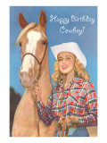Happy Birthday Cowgirl, Blonde and Palomino, Art Print