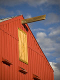 Red Barn Against a Blue Sky with Puffy White Clouds, Photographic Print