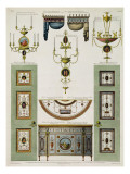 Designs for Curtain Cornices, Girandoles and Folding Doors, 1774, Giclee Print