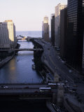 Chicago River Enters Lake Michigan with East Wacker Drive, IL Giclee Print