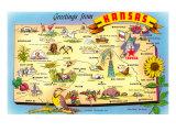 Greetings from Kansas, Map, Art Print