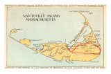Map of Nantucket Island, Massachusetts Art Print