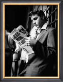 Elvis Presley Reading the Paper in London, 1958, Art Print