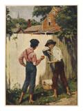 Tom Sawyer Whitewashing the Fence, Giclee Print
