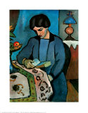 Blue Girl Reading a Book, Giclee Print, Auguste Macke