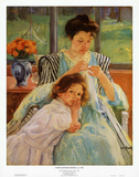Young Mother Sewing, Giclee Print