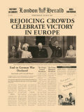 Historic Headlines - Rejoicing Crowds Celebrate Victory Poster, London Herald, May 5, 1945