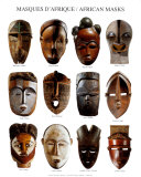African Masks, Art Print