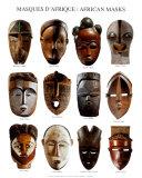 African Masks, Art Print