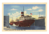 Freighter in Davis Lock, Sault Ste. Marie, Michigan Art Print