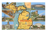 Michigan State Map Art Print