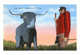 Giant Statues of Paul Bunyan and Babe the Blue Ox Guard, Trees of Mystery, Klamath, California, USA, Photographic Print