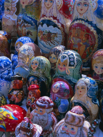 Russian Craft Dolls for Sale, Moscow, Russia, Europe Photographic Print
