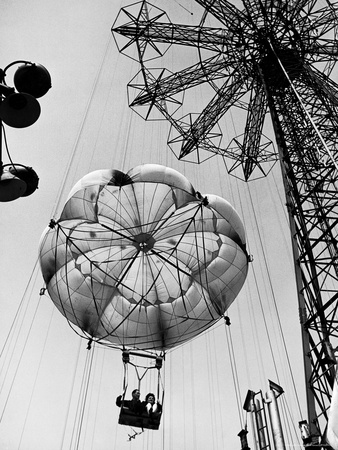 Couple Taking a Ride on the 300 Ft. Parachute Jump at Coney Island Amusement Park Photographic Print