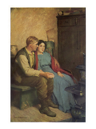 Husband and Wife Sit Holding Hands Giclee Print