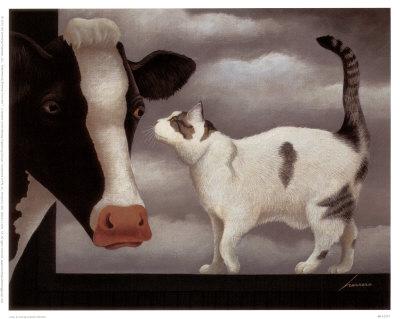Vache et chat Reproduction artistique