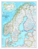 Map of Scandinavia Art Print