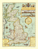 Map of Shakespeare's Britain, Art Print
