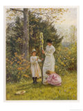 Mother Helps Her Children Deck a Small Domestic Maypole, Giclee Print