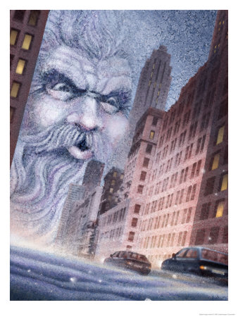 Old Man Winter Blowing Bad Weather into a City Giclee Print