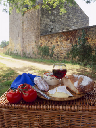 Picnic Lunch of Bread, Cheese, Tomatoes and Red Wine on a Hamper in the Dordogne, France Photographic Print