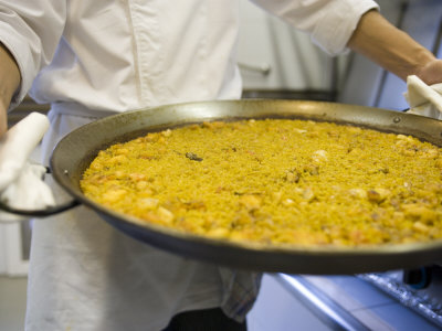 Paella Being Served at Hotel Neptuno, Valencia, Spain Photographic Print
