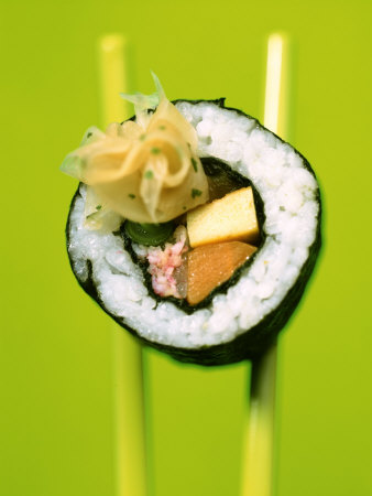 Maki-Sushi with Crabmeat, Scrambled Egg and Tuna Photographic Print