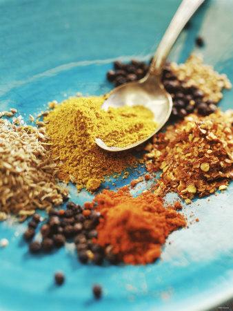 Spices: Turmeric, Paprika, Allspice, Coriander, Chili Photographic Print