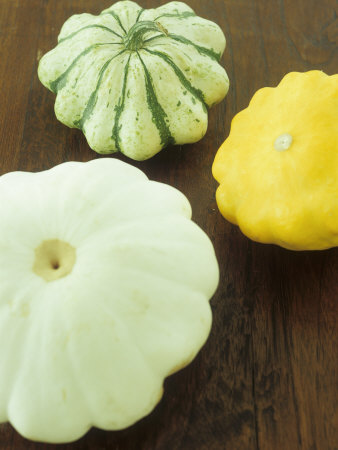 Three Different Squashes (Patty Pan Squashes) Photographic Print