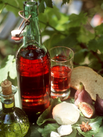 Fresh Goat's Cheese, Figs, Oil and Rose Wine from Provence Photographic Print
