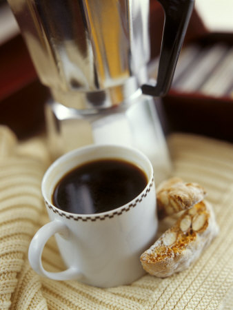 Cup of Coffee and Biscotti (Italian Almond Biscuits) Photographic Print