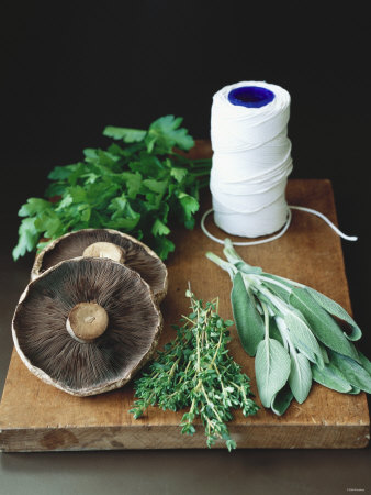 Mushrooms, Fresh Herbs & Kitchen String on Chopping Board Photographic Print