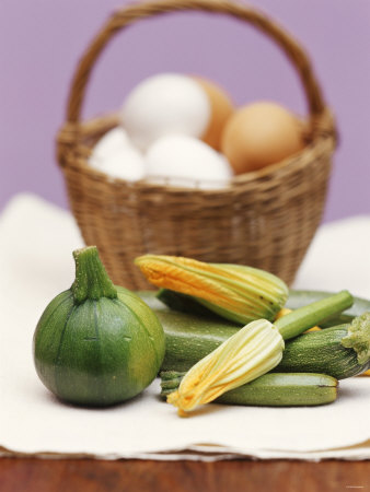 Still Life with Courgettes, Rondini and Egg Basket Photographic Print