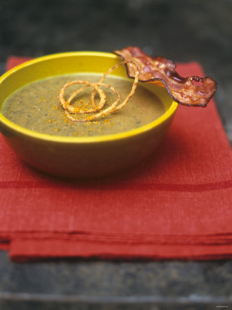 Lentil Soup with Bacon, Fried Onions and Walnut Oil Photographic Print