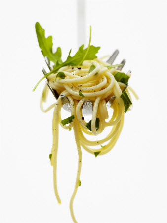 Spaghetti with Rocket on Spaghetti Server Photographic Print