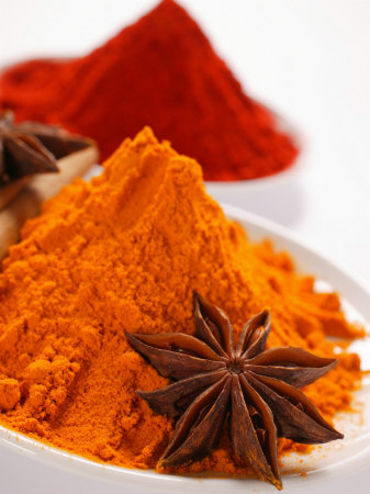 Curry Powder and Paprika, Star Anise Photographic Print