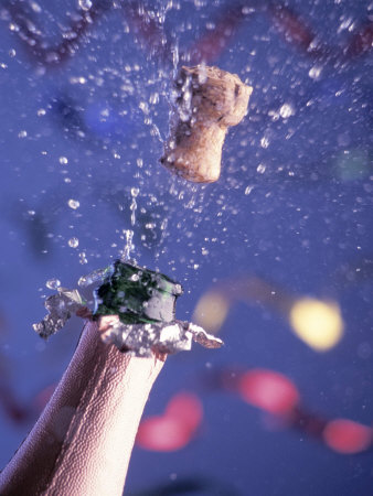 Champagne Cork Popping Photographic Print