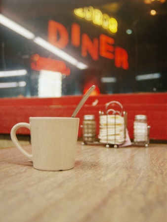 A Coffee Cup and a Diner Sign Spell Late Night Just off Route 95 Photographic Print