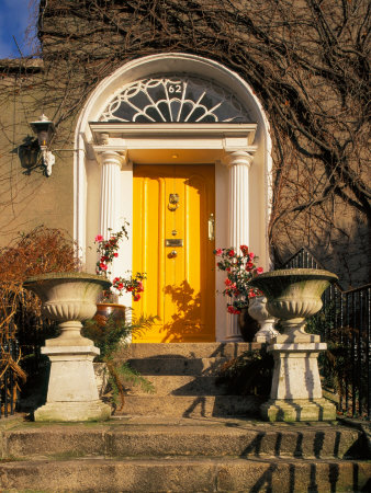 Stairs Leading to Bright Yellow Door, Dublin, Ireland Photographic Print