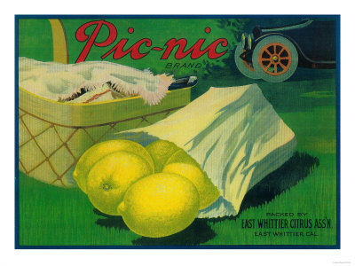 Picnic Lemon Label - Whittier, CA Giclee Print