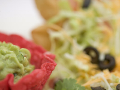 Traditional Mexican Dish with Guacamole on a Taco Salad Photographic Print