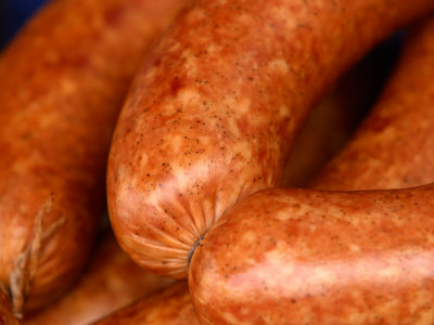 Close-Up of Sausages Linked Together Photographic Print
